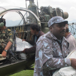 GOD HELPED US CONNECT WITH HIGH RANKING LEADERS WHO PROVIDED COPTERS AND PERSONNEL TO TAKE RELIEF GOODS TO REMOTE VILLAGES