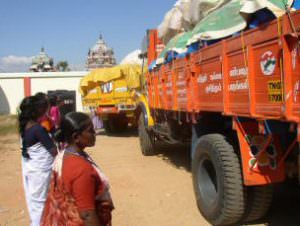 INCG-trucks filled with relief supplies for Tamil Nadu.