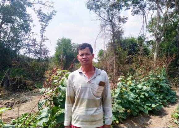 Man standing in front of garden